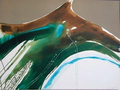TIVA LANDSCAPE Signed Lithograph, Abstract Watercolor Taupe, Teal Green, Brown