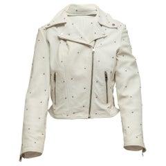 Lamarque White Leather Studded Moto Jacket