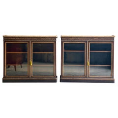 Lamb of Manchester Pair of Walnut & Gilt Metal Mounted Pier Cabinets, circa 1850