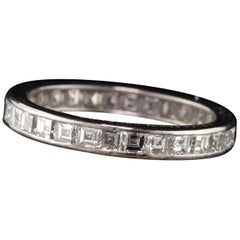 Lambert Brothers Antique Art Deco Platinum Carre Cut Diamond Eternity Band