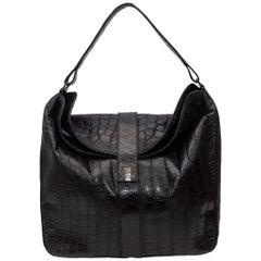 Lambertson Truex Black Crocodile Shoulder Bag