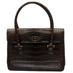 Lambertson Truex Dark Brown Crocodile Handbag