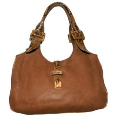 Lambertson Truex New Haven Brown Leather W/ Python Trim & Handles