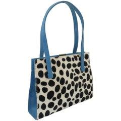 Lambertson Truex Pony Fur & Electric Blue Leather Handbag