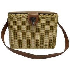 Lambertson Truex Wicker and Brown Leather Handbag