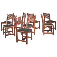Lambrecht Studio Set of Eight Teak and Leather Dining Chairs, USA, 1950s
