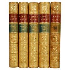 Lambs Works 5 Leather Bound Volumes with Marbleized Endpapers and Marbled Pages