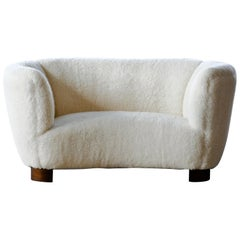 Lambswool Covered Banana Shaped Curved Loveseat, Denmark, 1940s