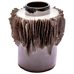 Lamella Collection Glazed Ceramic Vessel