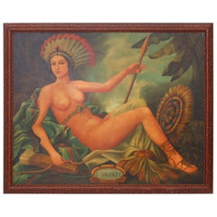 L'Amerique by Skilling, Depicting a Voluptuous Woman in a Woodland Setting
