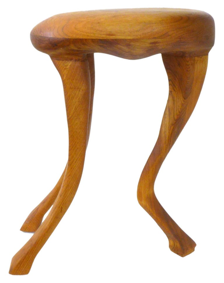 Organic Modern Laminated and Hand Carved Wood Zoomorphic Stool For Sale