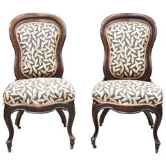 Laminated Rosewood John Henry Belter Victorian Slipper Lounge Chairs, a Pair