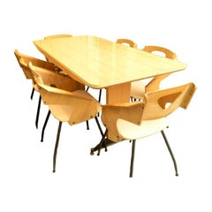 Laminated Wood Dining Table Six Chairs Seat Covered with Skai, Italy, 1940s