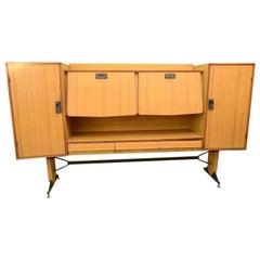 Laminated Wood with Fine Brass Locks Sideboard Brevetti Porzi Lissone Italy 1948