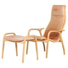 Lamino Chair and Stool by Yngve Ekström with Leather Made by Swedese, Sweden