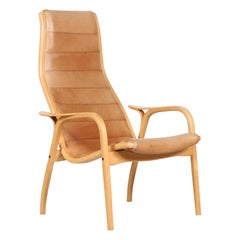 Lamino Chair by Yngve Ekström with Cognac Colored Leather Made by Swedese Sweden
