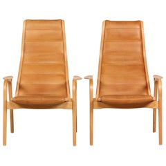 Lamino Chairs by Yngve Ekström with Cognac Colored Leather Made by Swedese, Pair