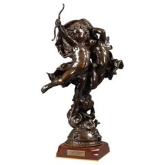 'L'Amour Vainqueur' a Bronze Figural Group by Adolphe Itasse, Dated 1887