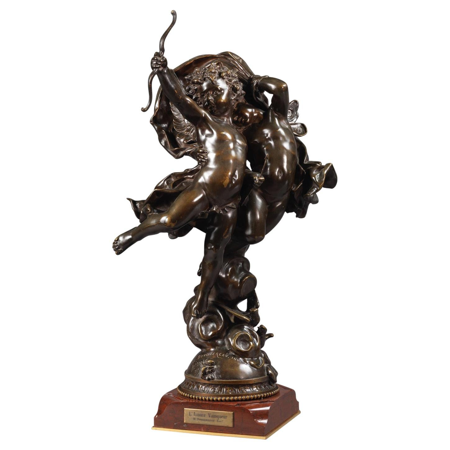 'L'amour Vainqueur', a Bronze Figural Group by Adolphe Itasse, Dated 1887
