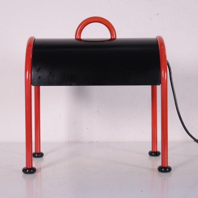 Lamp Enameled Aluminum Metal 1970s-1980s E. Sotsass for Stilnovo For Sale 2