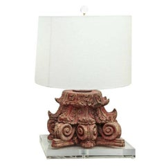Lamp Fashioned from Red Painted Carved Capital