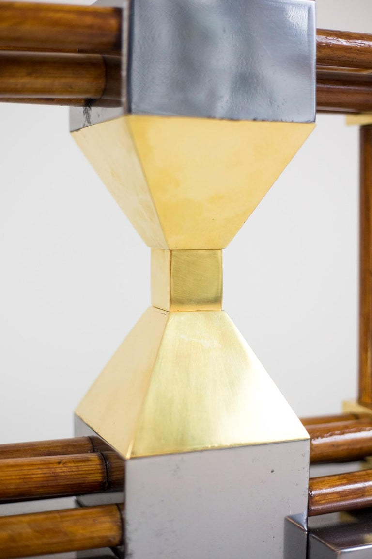 Lamp in Bamboo, Gilt and Silvered Brass, 1970s For Sale 6