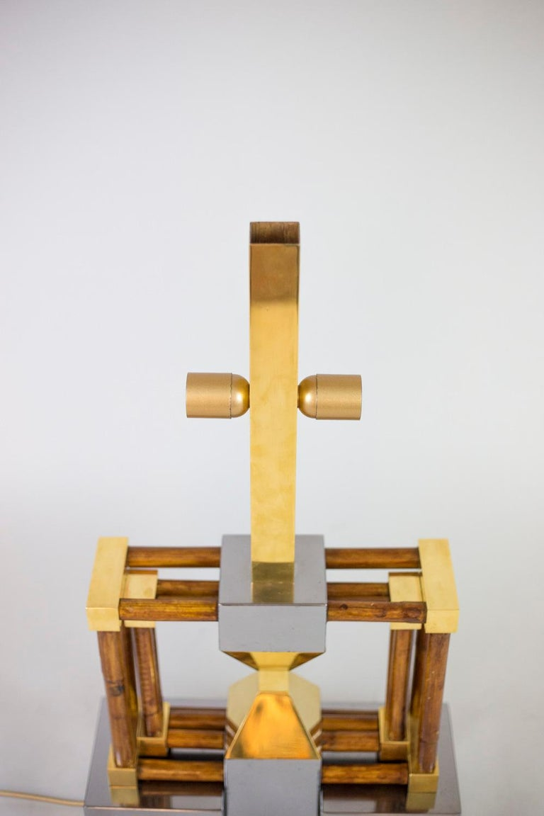 Lamp in Bamboo, Gilt and Silvered Brass, 1970s In Good Condition For Sale In Saint-Ouen, FR