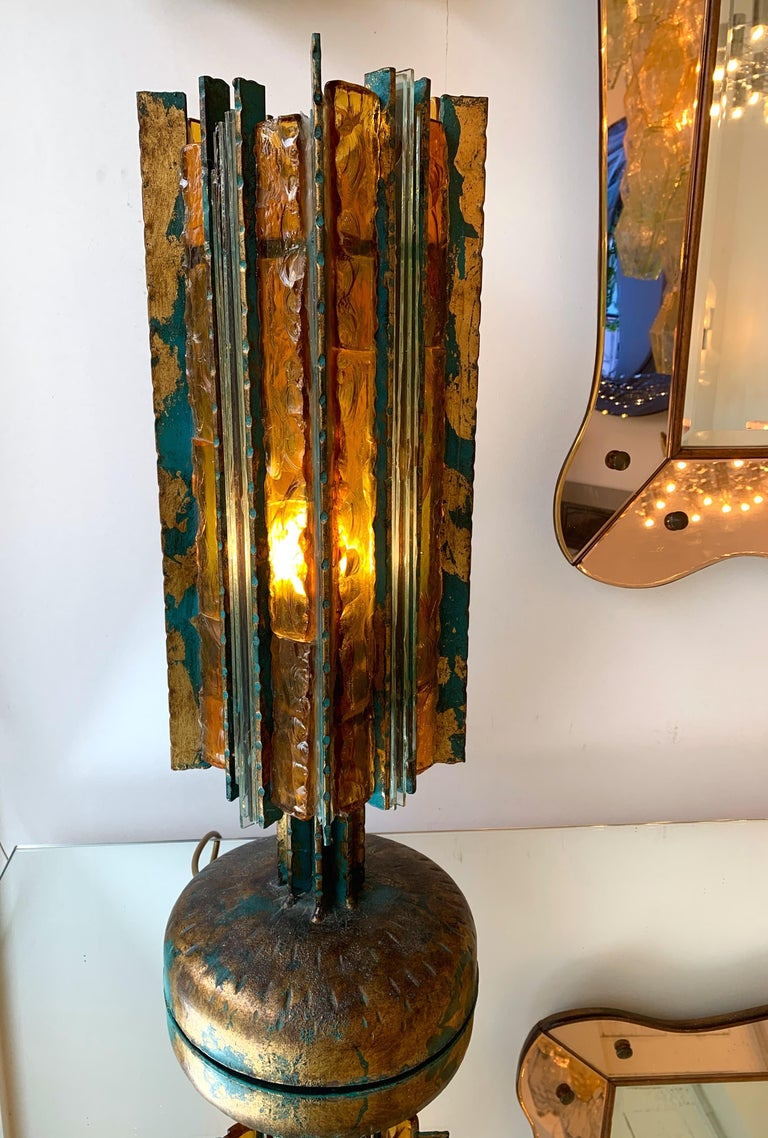 Brutalist Lamp Iron Glass Gold Leaf by Biancardi Arte, Italy, 1970s For Sale