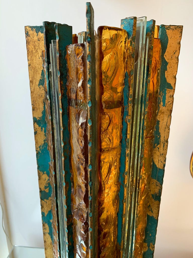 Lamp Iron Glass Gold Leaf by Biancardi Arte, Italy, 1970s In Good Condition For Sale In SAINT-OUEN, FR