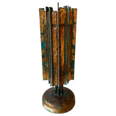 Lamp Iron Glass Gold Leaf by Biancardi Arte, Italy, 1970s