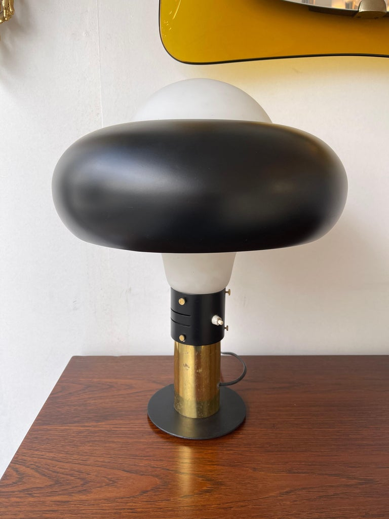 Mid-Century Modern Lamp Lacquered Metal Brass and Opaline Glass, Italy, 1950s For Sale