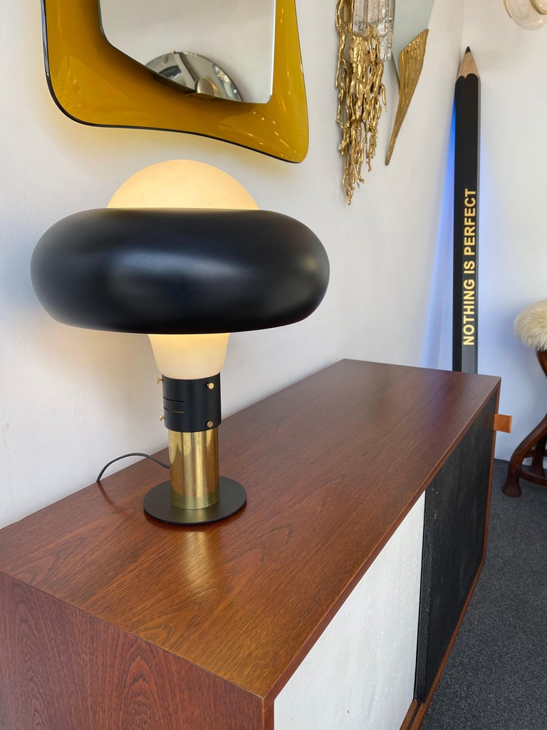 Italian Lamp Lacquered Metal Brass and Opaline Glass, Italy, 1950s For Sale