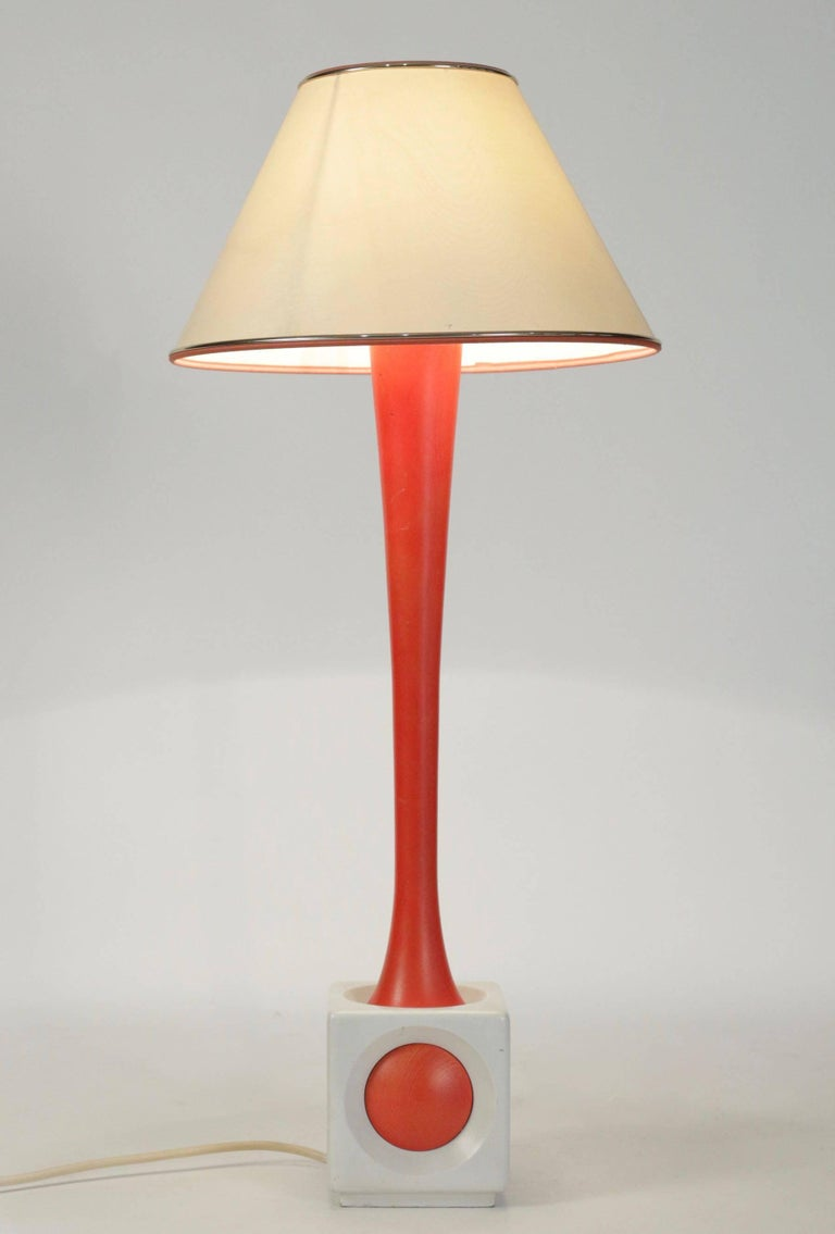 Lamp of Wood Painted Orange and White, circa 1960, Midcentury Design In Good Condition For Sale In Saint-Ouen, FR