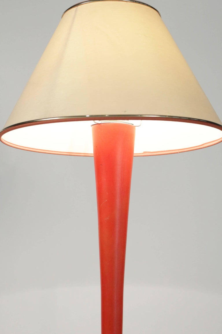 Mid-20th Century Lamp of Wood Painted Orange and White, circa 1960, Midcentury Design For Sale