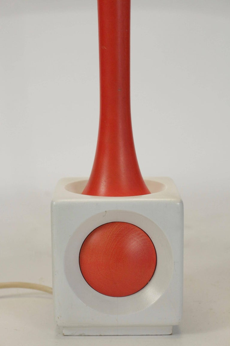 Lamp of Wood Painted Orange and White, circa 1960, Midcentury Design For Sale 1