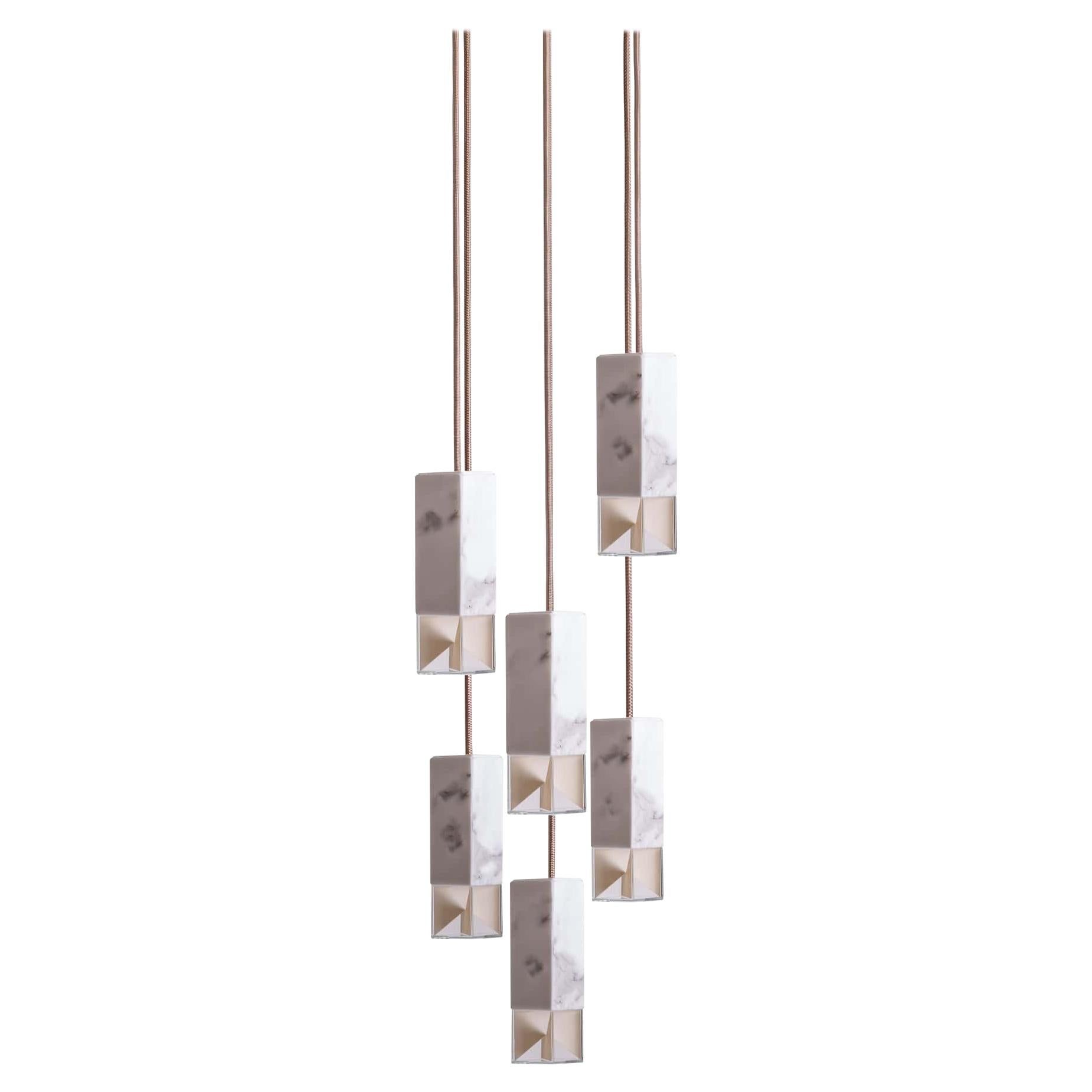 Lamp One 6-Light Chandelier in Marble by Formaminima