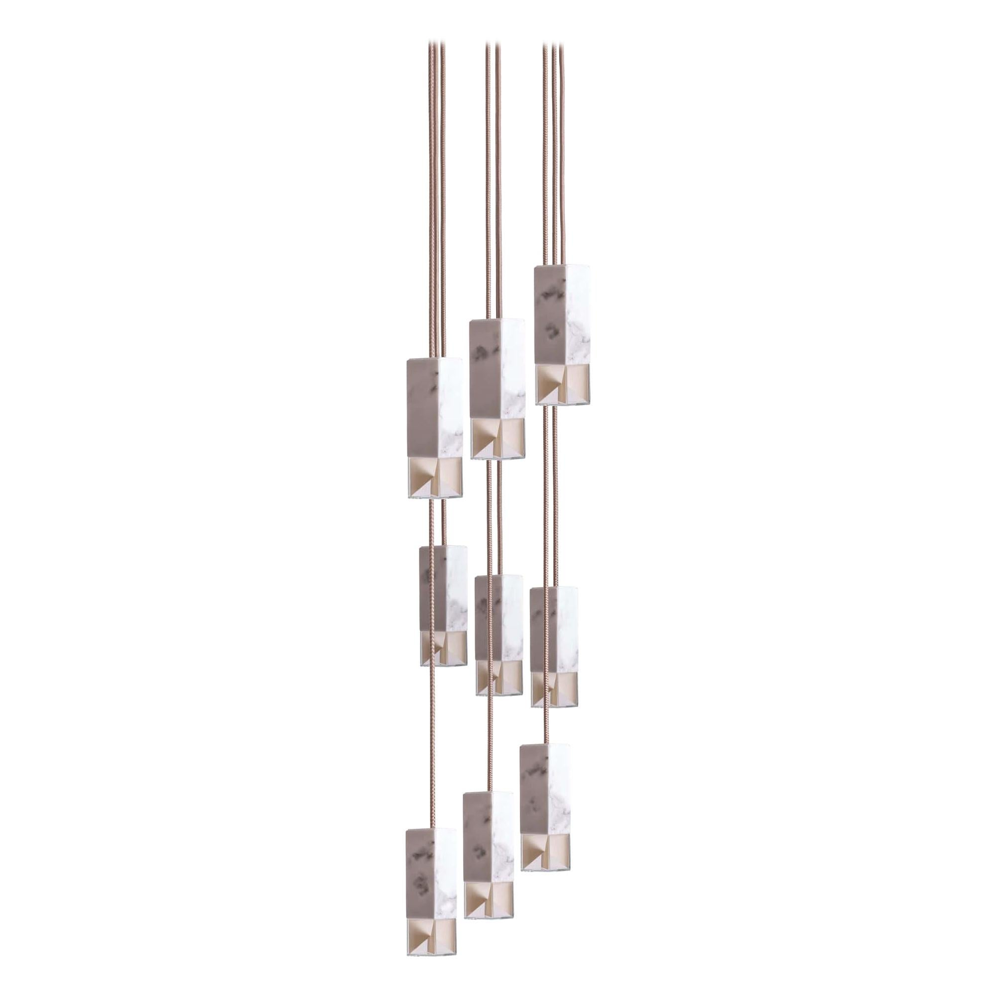 Lamp One 9-Light Chandelier in Marble by Formaminima