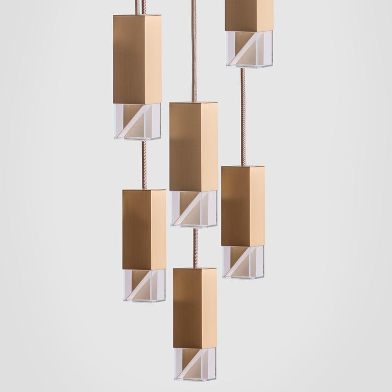 Italian Lamp/One Brass 6-Light Chandelier For Sale