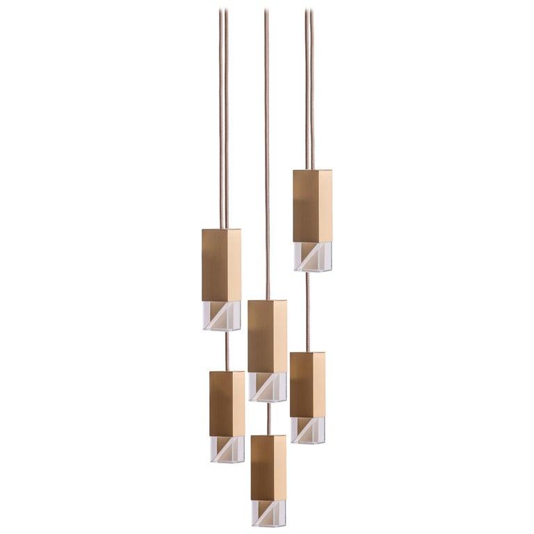 Lamp/One Brass 6-Light Chandelier For Sale