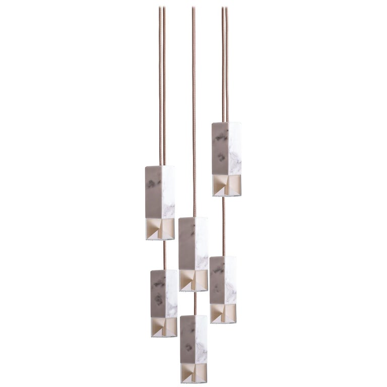 Lamp/One Marble 6-Light Chandelier For Sale