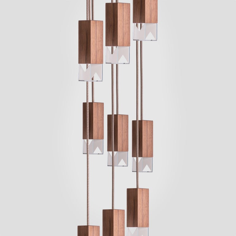 Italian Lamp/One Wood 9-Light Chandelier For Sale