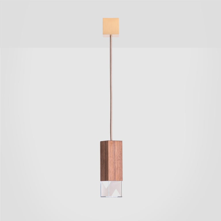 Italian Lamp/One Wood Pendant Lamp For Sale