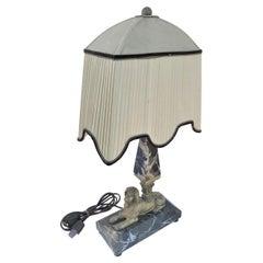 Lamp, Orignal Egyptian Revival, Sphynx, Tent Shade, Orignal Marble Base