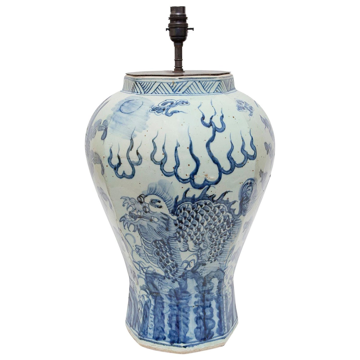 Lamp Table Chinese Porcelain Vase Blue and White Dragon Upcycled