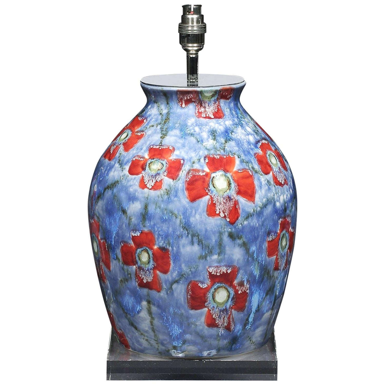 Lamp Table Cobridge Poppy and Ice Wildflower Vase Blue Red Green White