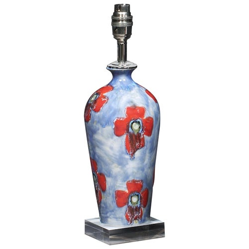 Lamp Table Cobridge Poppy and Ice Wildflower Vase Blue Green Red White