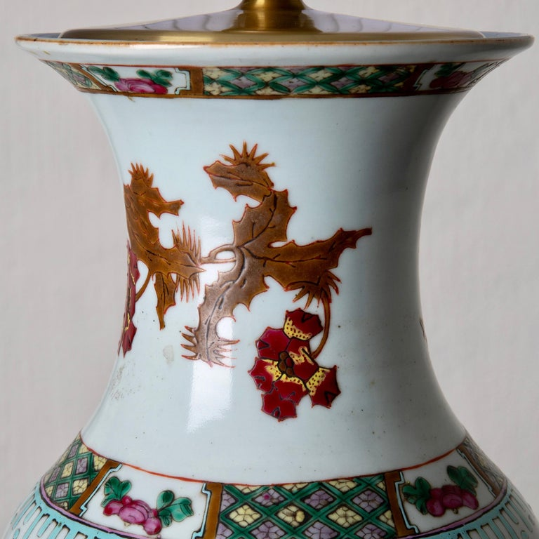 "Lamp table oriental white red flowers 1920s, China. A table lamp in white porcelain with red floral pattern. Measures: H with shade 29"", H without shade 20"", diameter of foot 6""."