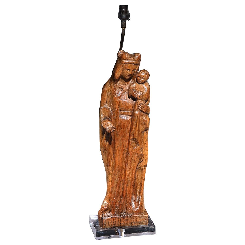 Lamp, Table, Sculpture, Oak, Mother & Child, Naïve, Baroque