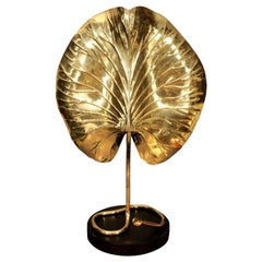 Lamp, Tommaso Barbi Brass Leaf, circa 1950, Table Lamp