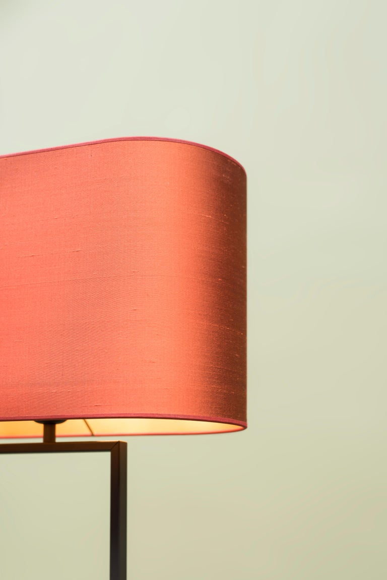 Dutch GHYCZY Lamp Tom MW24, Ristretto Frame, Lampshade Silk Red, Floor Lamp  For Sale
